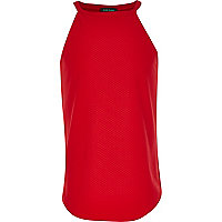 Girls red textured cami top