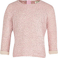 Girls pink lurex jumper