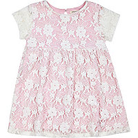 Mini girls pink smock dress