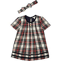 Mini girls red check tartan swing dress