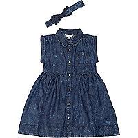 Mini girls dark blue denim dress