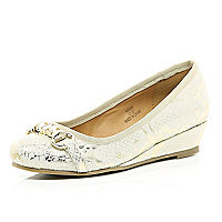 Girls gold snake print ballerina shoes