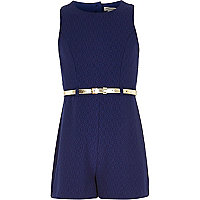 Girls navy crepe playsuit