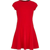 Girls red textured fit and flare dress