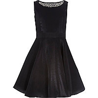 Girls black embellished prom dress