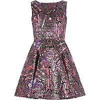 Girls purple jacquard prom dress