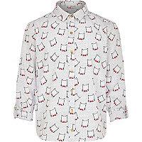 Girls cream cat print shirt