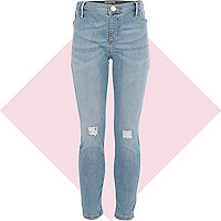 Girls light wash ripped denim jeggings