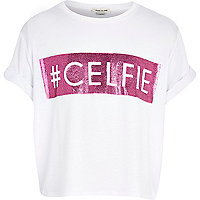 Girls white celfie glitter crop t-shirt