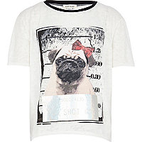 Girls white pug shot print t-shirt
