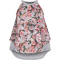 Girls grey floral print cami top