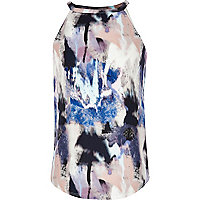 Girls blue pastel brush stroke print cami top
