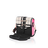 Girls black check cross body bag