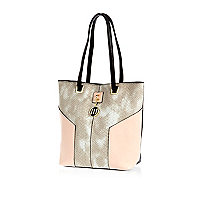 Girls pink snake shopper bag
