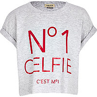 Girls grey no.1 celfie crop t-shirt