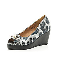 Girls black animal peep toe wedge shoes