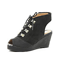Girls black lace up peep toe wedge sandal