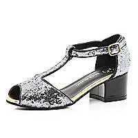 Girls grey glitter block heel shoes