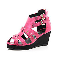 Girls metallic pink strappy wedges