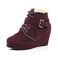 Girls red wedge boots