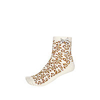 Girls cream leopard print socks