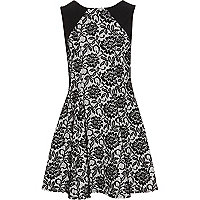 Girls black floral flock fit and flare dress