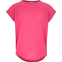 Girls bright pink chiffon short sleeve top