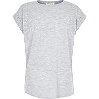 Girls grey chiffon back short sleeve top
