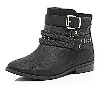 Girls black multi strap boot