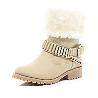 Girls cream faux fur buckle trim biker boot