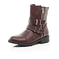 Girls red double buckle biker boot