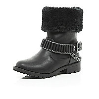 Girls black faux fur buckle trim biker boot