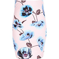 Girls pink floral print tube skirt