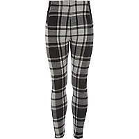Girls black check leggings