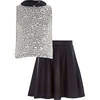 Girls black floral jacquard top and skirt set