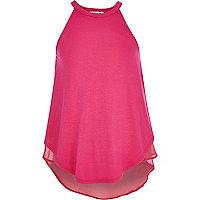 Girls pink chiffon back cami vest