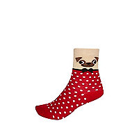 Girls red spot pug socks