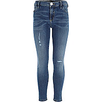 Girls mid wash skinny jeans