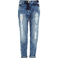Girls blue denim sequin boyfriend jeans
