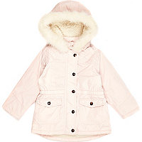 Mini girls pink luxe parka coat