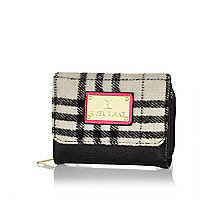 Girls black check purse