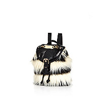 Girls white crazy faux fur backpack