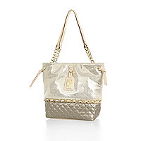 Girls cream metallic shopper bag