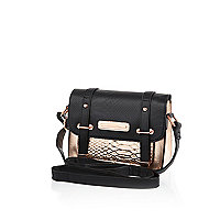 Girls black and rose gold satchel