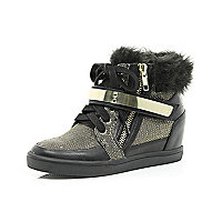 Girls black wedge trainers