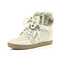 Girls white faux fur trim wedge trainers