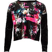Girls black floral velvet top