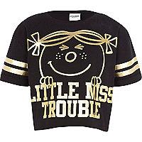 Girls black Little Miss Trouble print t-shirt