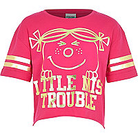 Girls pink Little Miss Trouble t-shirt