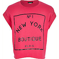 Girls pink New York boutique print t-shirt